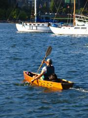 canoe with dog