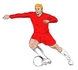 soccer player with ball attacking hand sketched poster