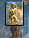 vintage angel postcard in grunge background poster