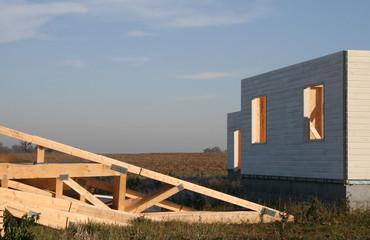 maison en bois en construction