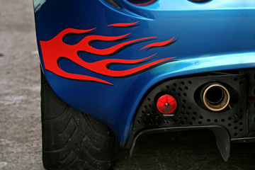 flaming exhaust