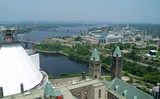 aerial view of government buildings in ottawa poster