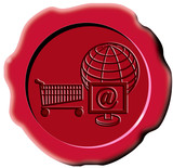 red wax seal with internet and globe stamp poster