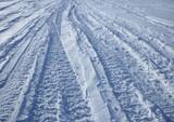 car tracks crossing the snowy terrain poster