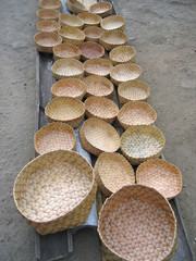 many braided baskets, bajawa, flores, indonesia