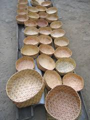 many braided baskets, bajawa, flores, indonesia