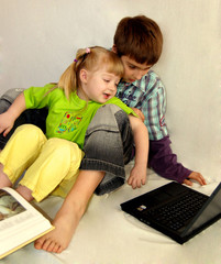 children, books and notebook