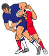 rugby 2 player carry tackle