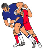 rugby 2 player carry tackle poster