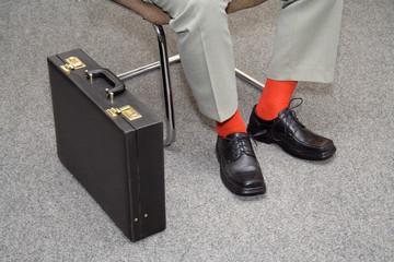 colorful businessman waiting