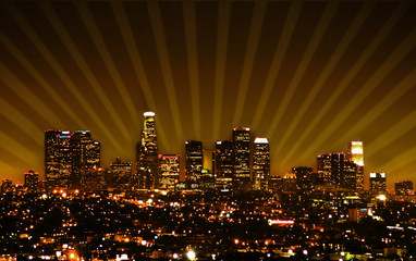 retro styled photo of the los angeles skyline