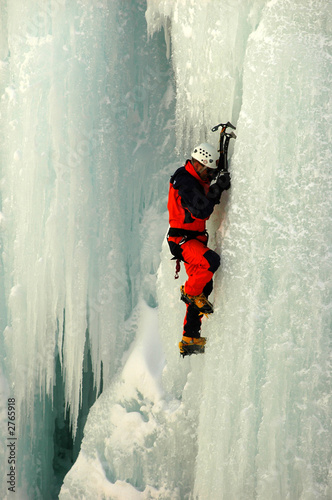 hanging on the frozen vertical edge