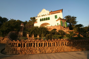 view of building in park guell of gaudi, spain