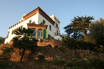 building in park guell of gaudi, spain, barcelona