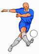 scoccer player kicking ball blue