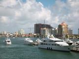 yachts at urban dock poster