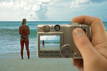 camera at the beach