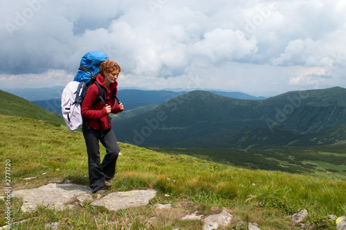 hiker girl in mountains