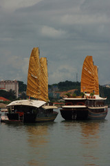 2 traditional vietnamese boats
