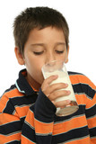 boy drinking a glass of milk poster