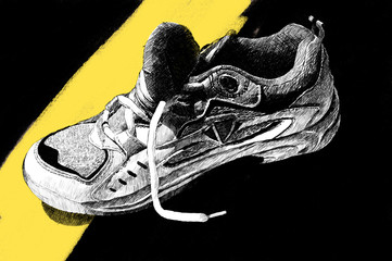 used tennis sneaker: illustration