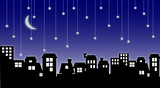 cityscape and falling stars poster