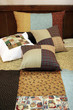patchwork quilt and pillows