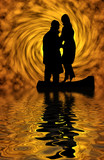 silhouette. reflection in water poster