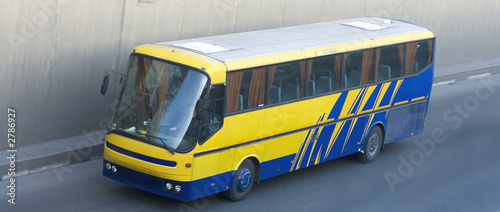 bus drive with high speed, blue, yellow