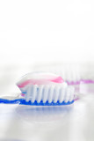 tooth brush with tooth paste poster