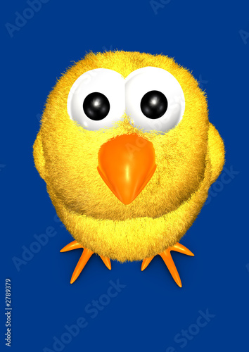 yellow chick 3d cartoon facing upview