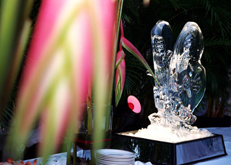 ice scuplture at buffet