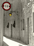 narrow medieval alley poster