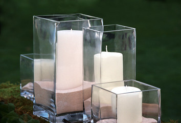 candles in glass jars