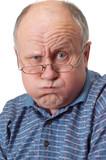 bald senior man fooling around. poster