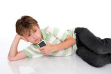 child with a portable mp3 player poster