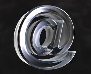 simbolo et chiocciola e-mail in vetro fondo nero