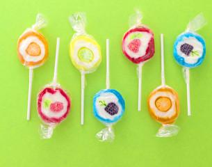 colorful sweet lollipops