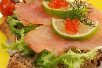 salmon and red caviar