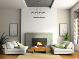 home interior with fireplace and sofas 3d rendering - 2800151