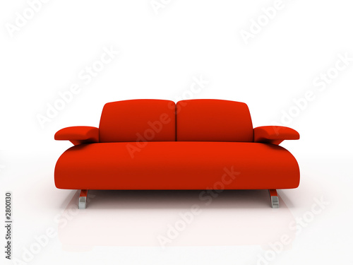 red modern sofa on white background  insulated 3d
