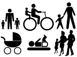 assorted family silhouettes
