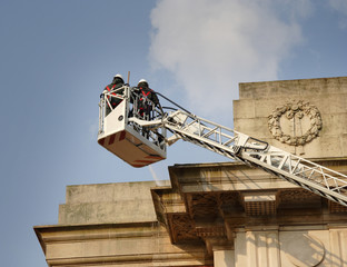 cleaning a war memorial
