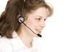 receptionist with headphones, profile