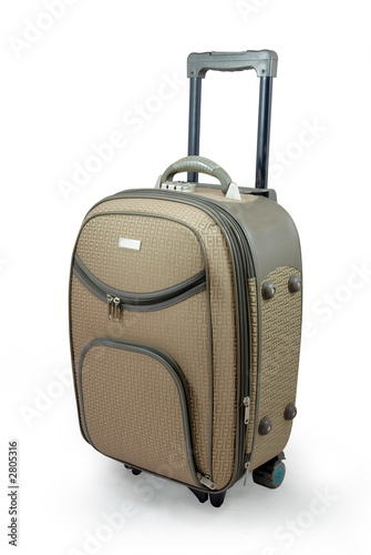 poster of beige travel suitcase - isolated