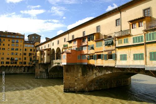 poster of famous bridge ponte vecchio on arno river in flore