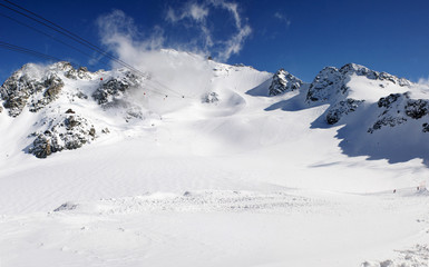 panoramic snow mountains view