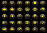 black and yellow media web buttons poster