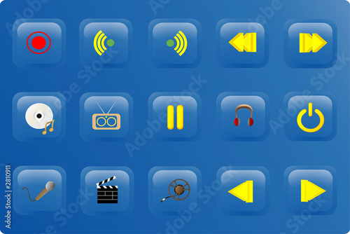 poster of blue color media buttons
