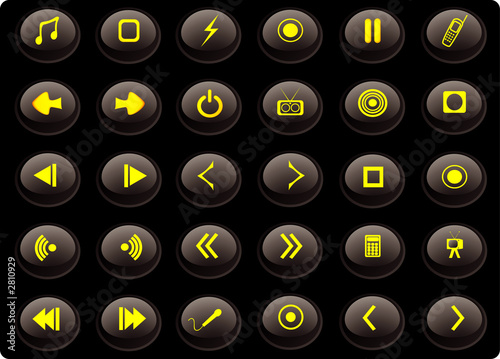 poster of black and yellow media web buttons